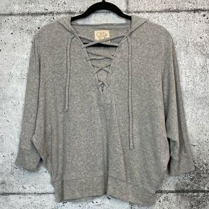 Chaser // Terry Cloth Lace-up Hoodie
